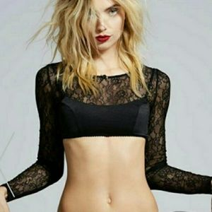 EUC nasty gal x Courtney love burn black crop
